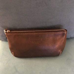 Coach Black Leather Top Zip Make Up Bag EUC